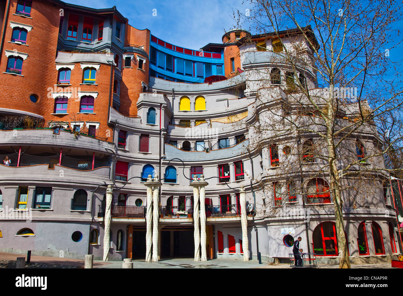 Front elevation view of an apartment building in Geneva ...