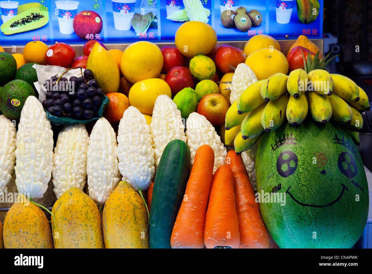 Fruit and vegetable stall Shilin Night Market Taipei Taiwan