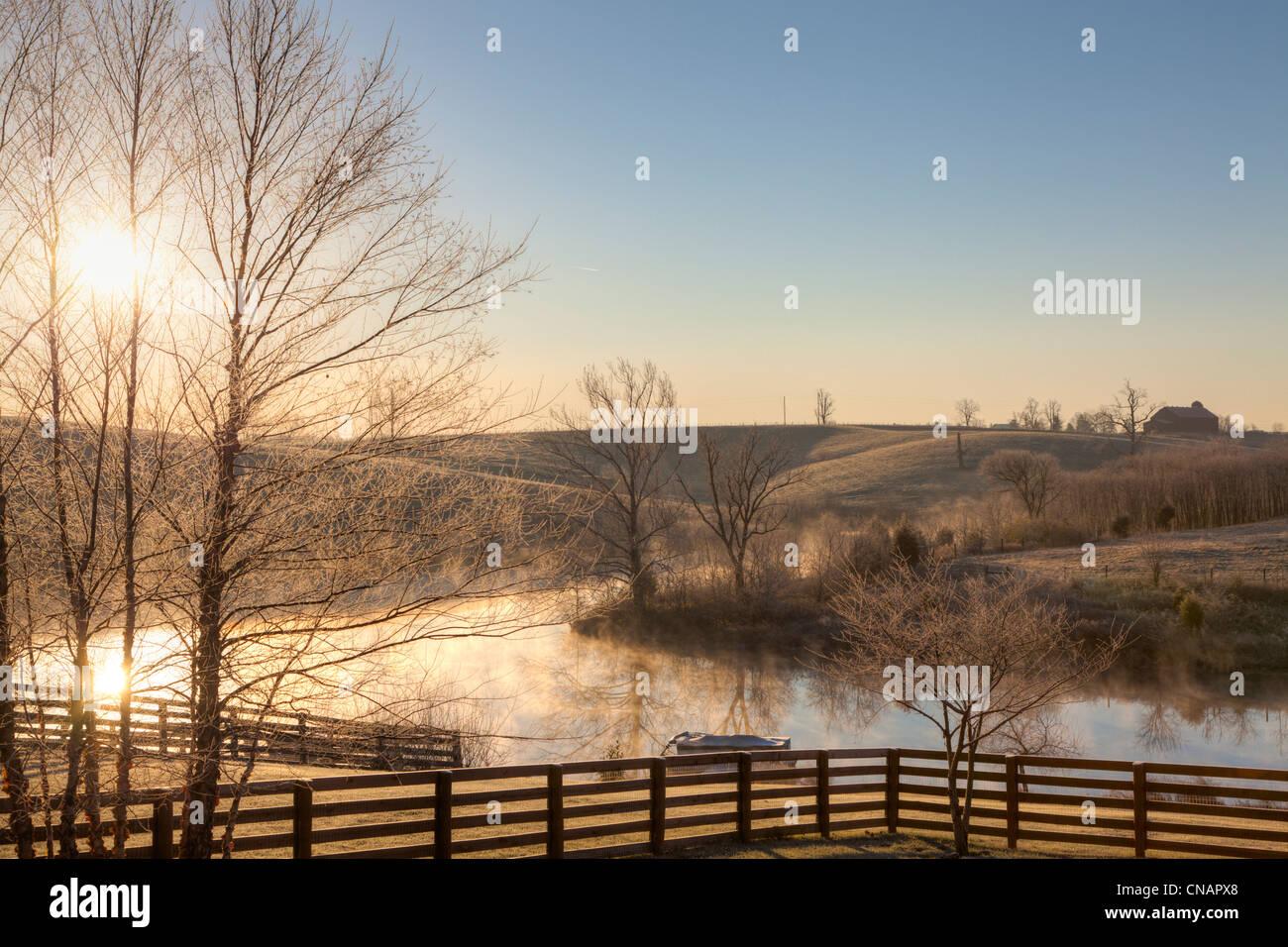 Frosty morning sunrise - Stock Image