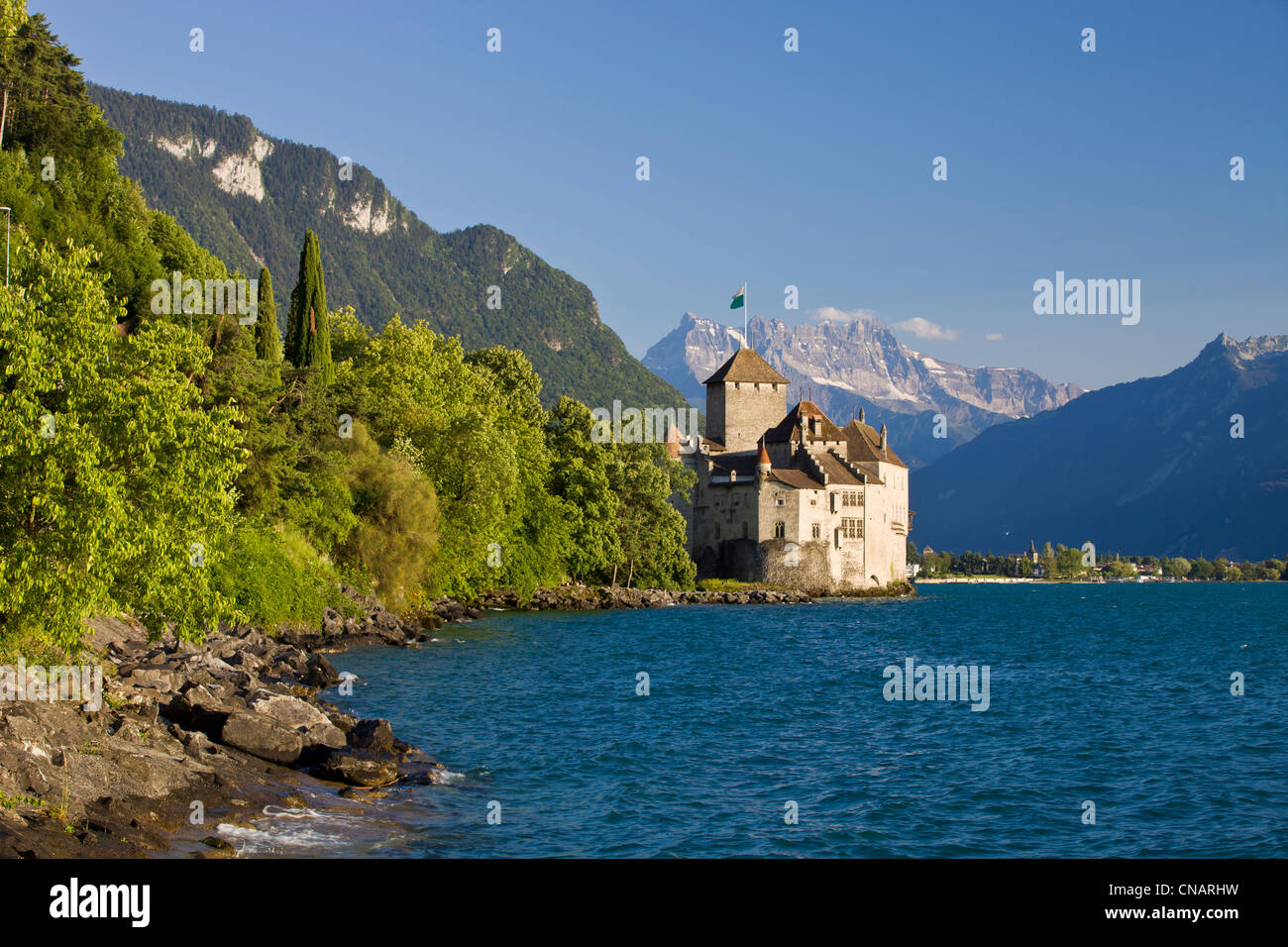 Suisse, Canton of Vaud, Lake Geneva, Veytaux, Chillon Castle at South Montreux - Stock Image