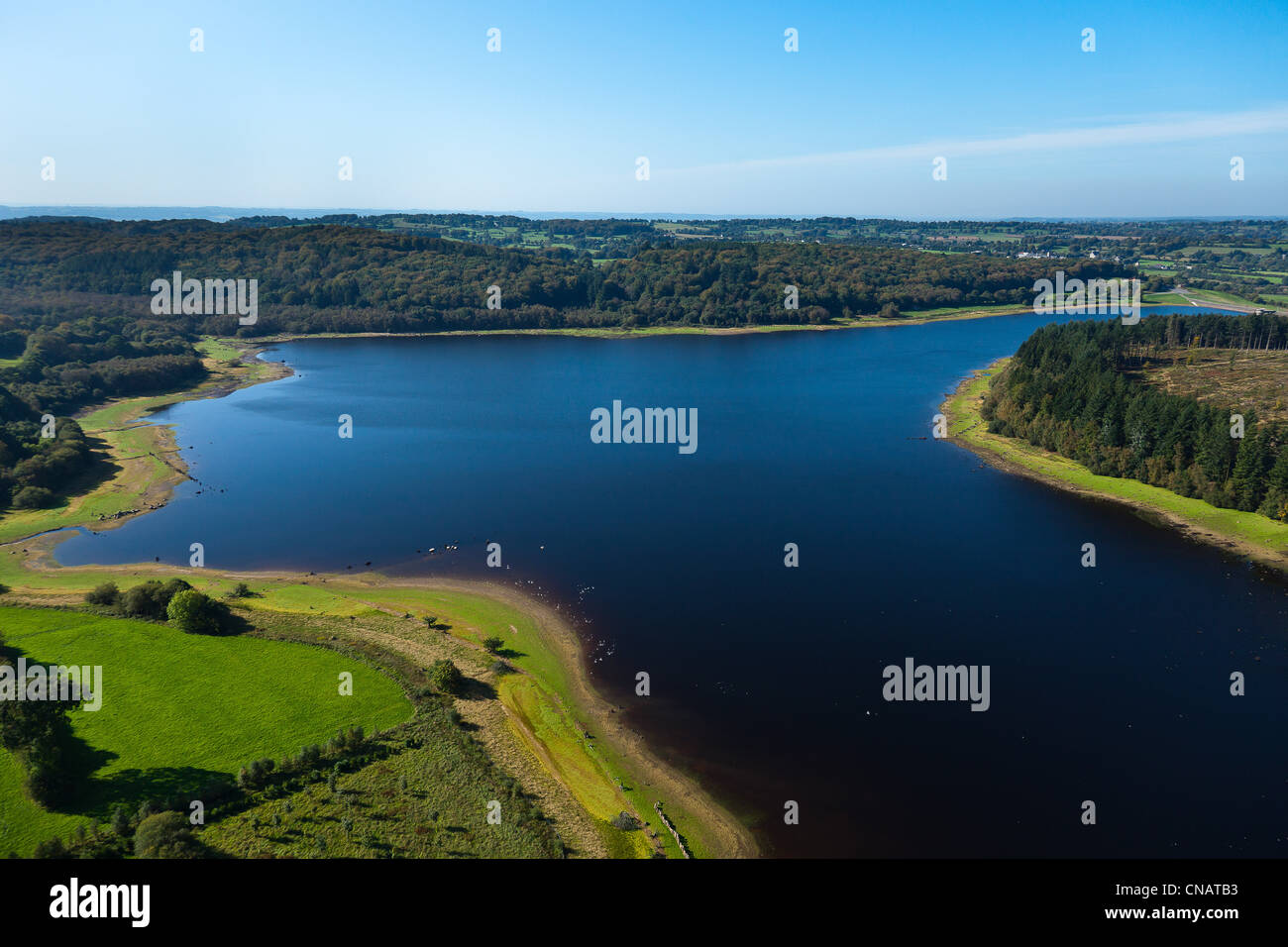 France, Manche, Le Gast, Gast lake (aerial view) - Stock Image