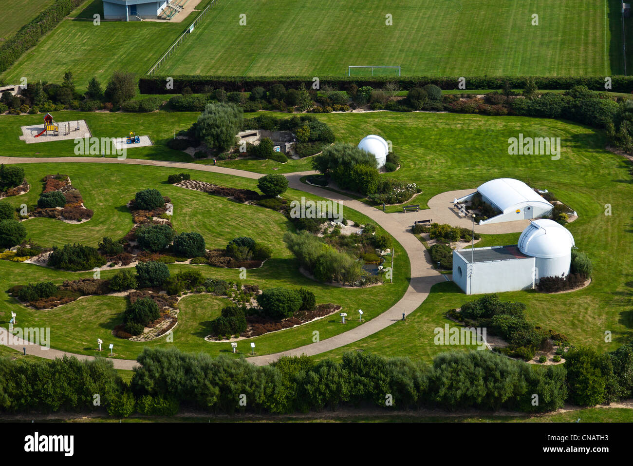 France, Manche, Tonneville, observatory and planetarium Ludiver (aerial view) - Stock Image