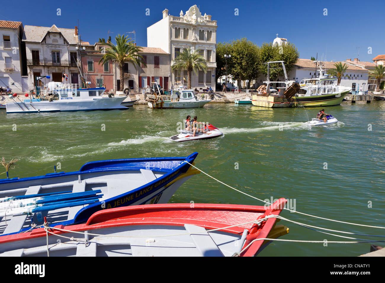 France, Gard, Camargue area, harbour town of Le Grau du Roi - Stock Image