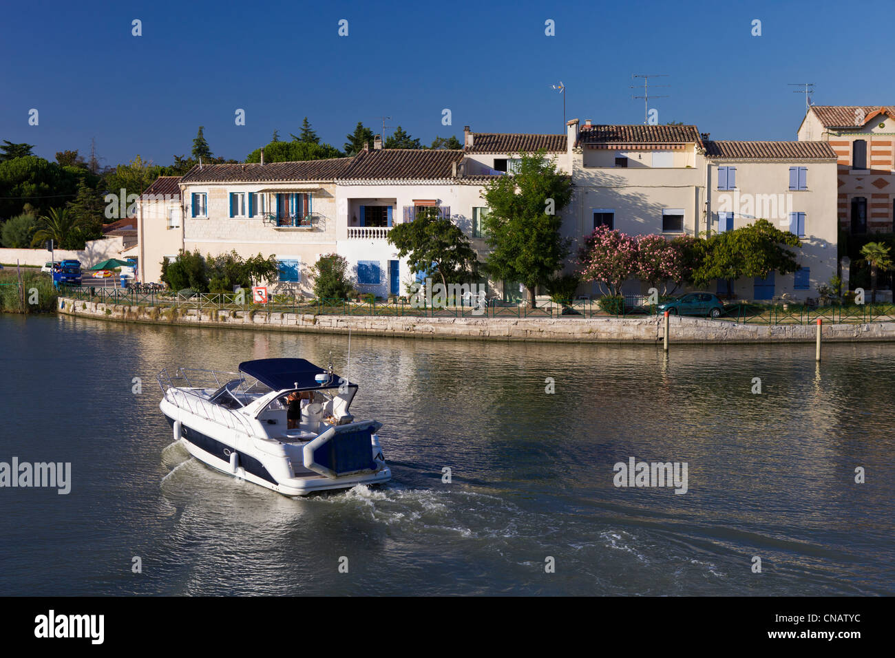 France, Gard, Aigues Mortes, the maritime channel of the Mer of Aigues Mortes - Stock Image