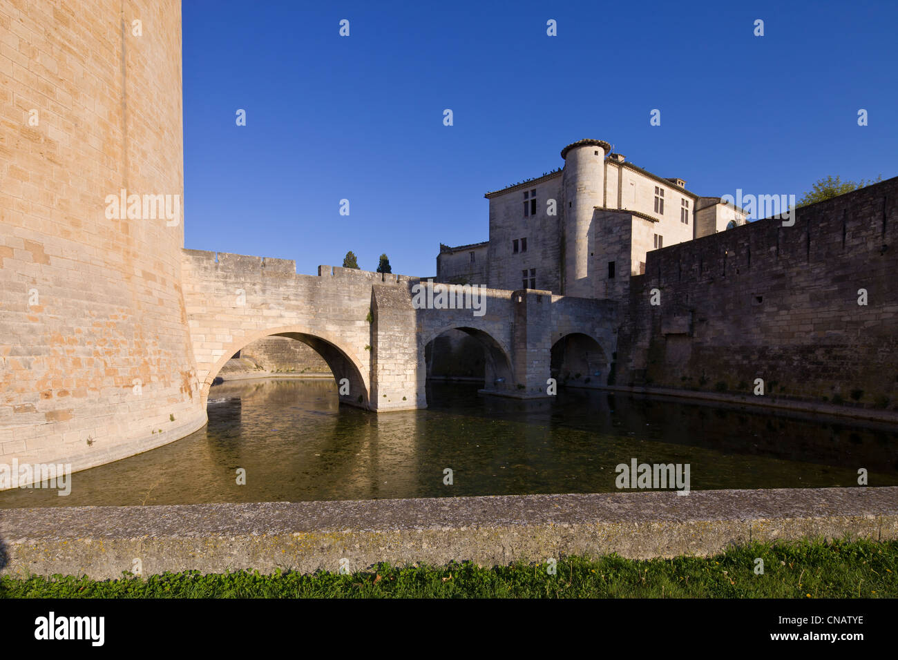 France, Gard, Aigues Mortes, Constance Tower and the remparts seen from the Crusades quay - Stock Image