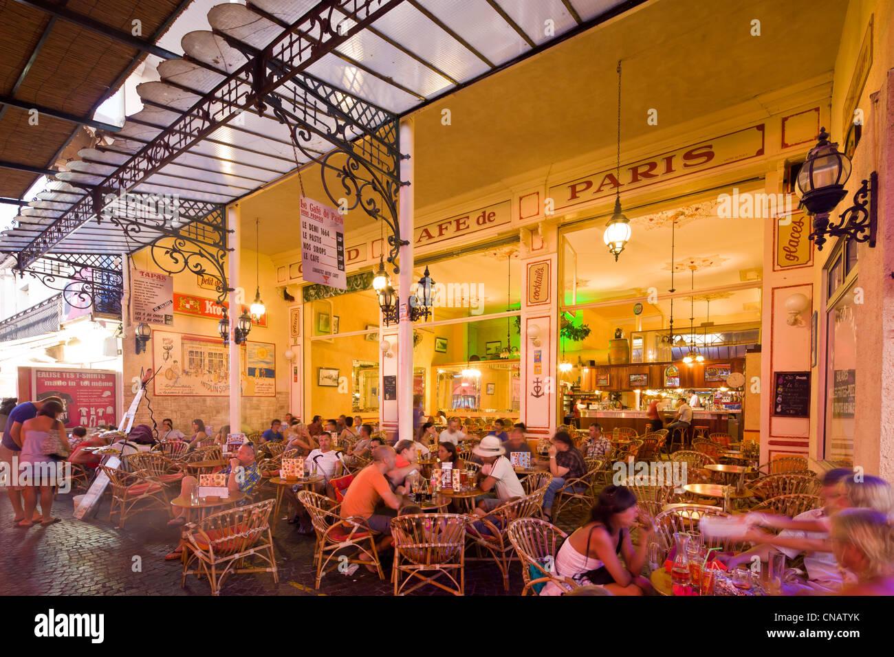 France, Gard, Camargue, Le Grau du Roi, restaurant cafe Le Grand Cafe de Paris Stock Photo
