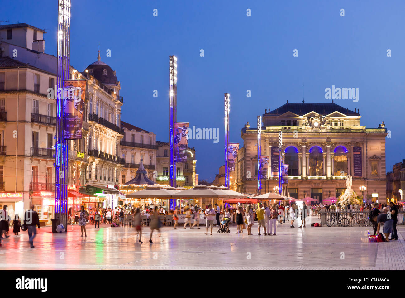 France, Herault, Montpellier, historical center, the Ecusson, Place de la Comedie (Comedy Square), the Opera Stock Photo