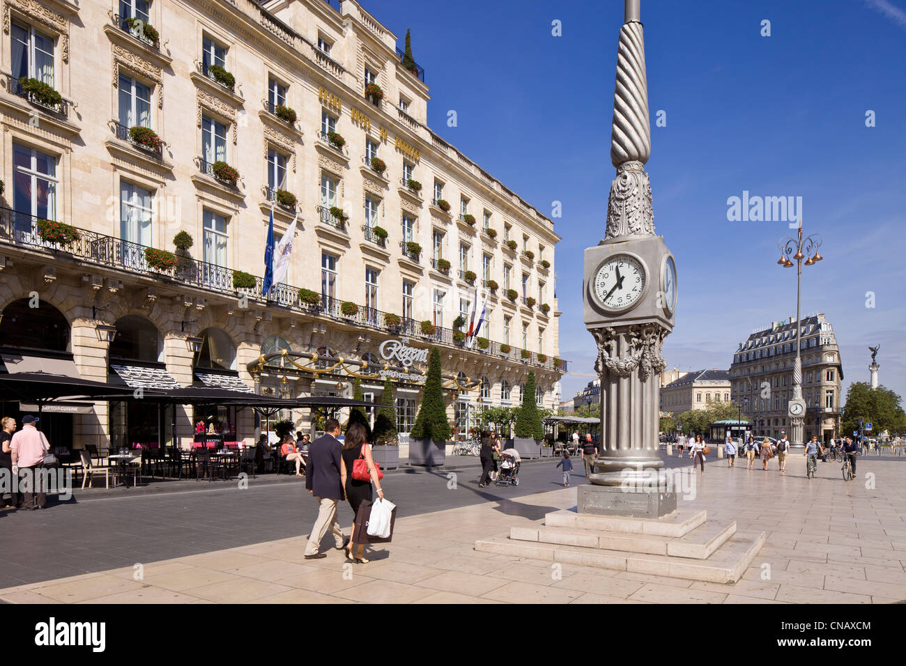 France, Gironde, Bordeaux, area listed as World Heritage by UNESCO, The Grand Hotel - Stock Image
