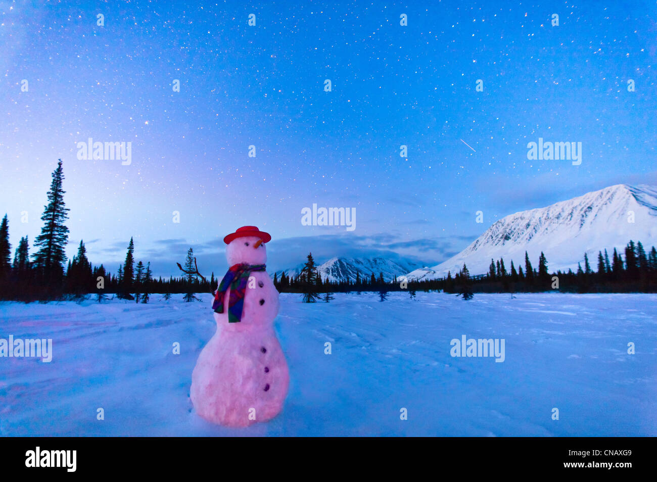 COMPOSITE, Snowman standing in a field at twilight, Winter, Broad Pass, Parks Highway, Southcentral Alaska - Stock Image