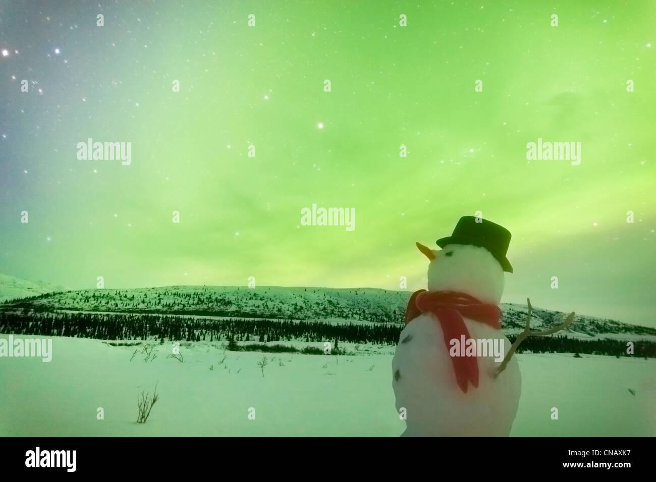 Digitally Altered, Snowman watching Northern Lights, Winter, Eureka Summit, Glenn Highway, Southcentral Alaska - Stock Image