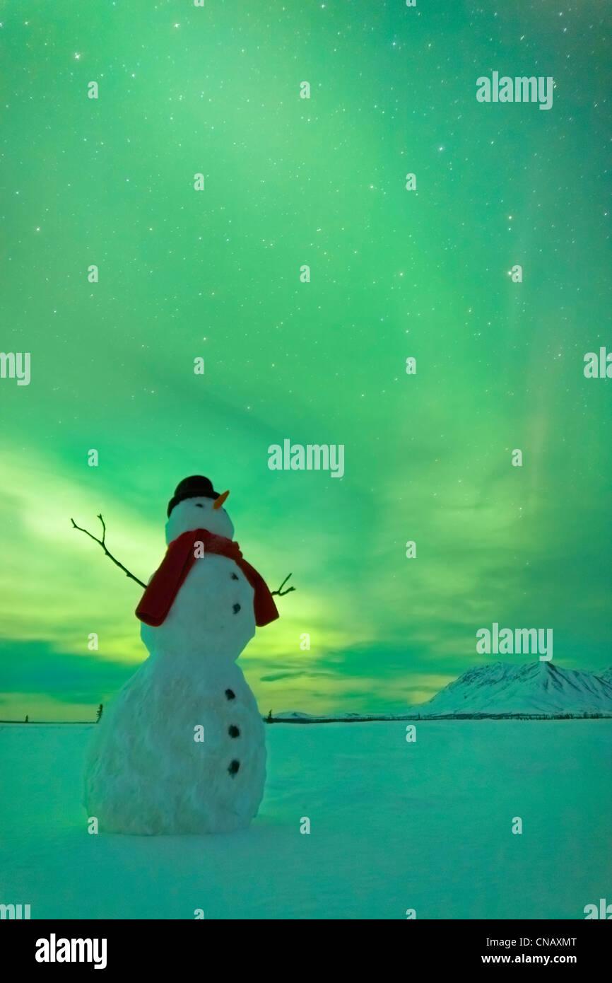 Digitally Altered,Snowman watching Northern Lights, Winter, Eureka Summit, Glenn Highway, Southcentral Alaska, - Stock Image