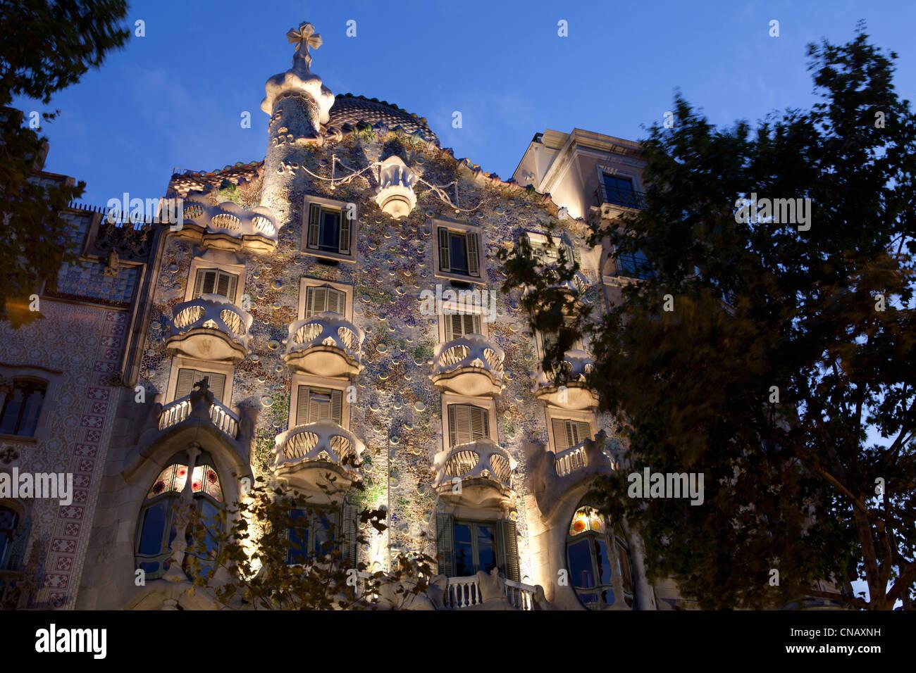 Gaudi building lit up at night - Stock Image