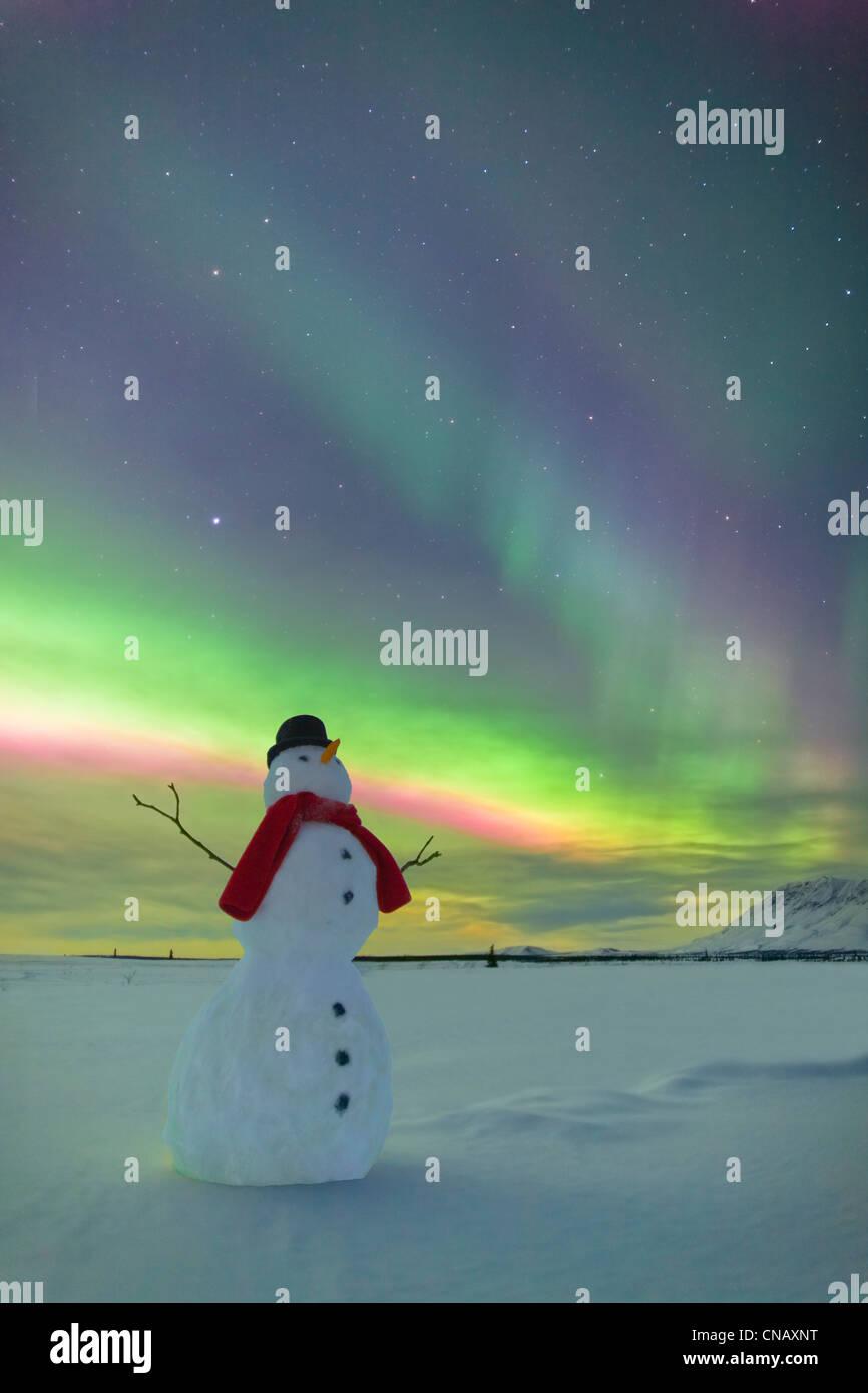Digitally Altered, Snowman watching Northern Lights, Winter, Eureka Summit, Glenn Highway, Southcentral Alaska, - Stock Image