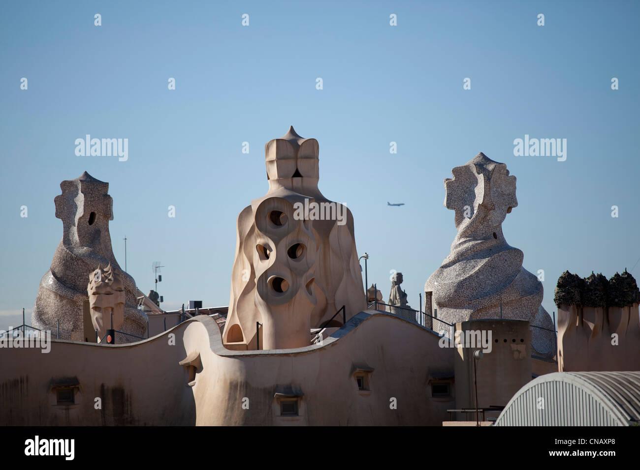 Rooftop of Gaudi building - Stock Image