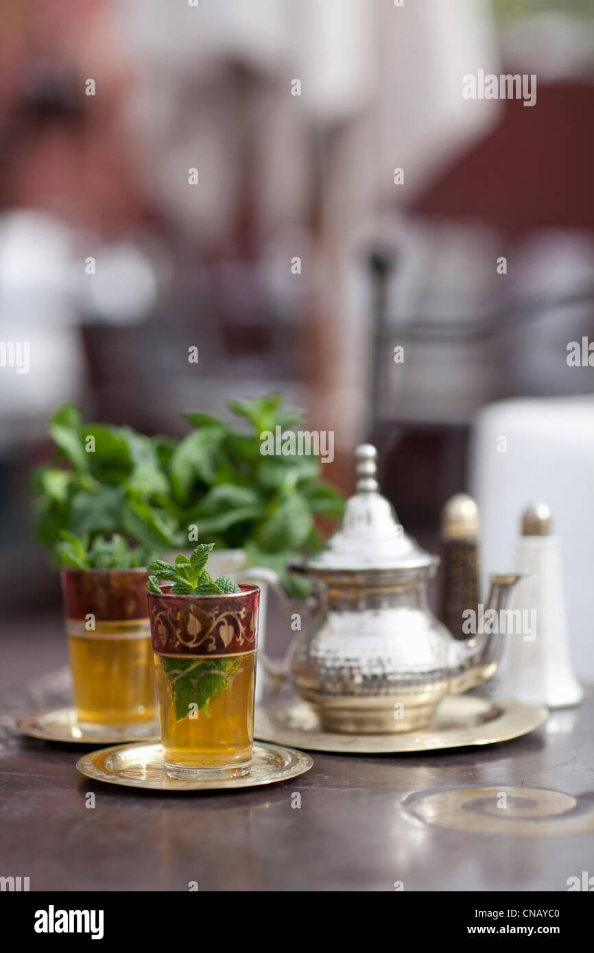 Glasses of mint tea on table - Stock Image