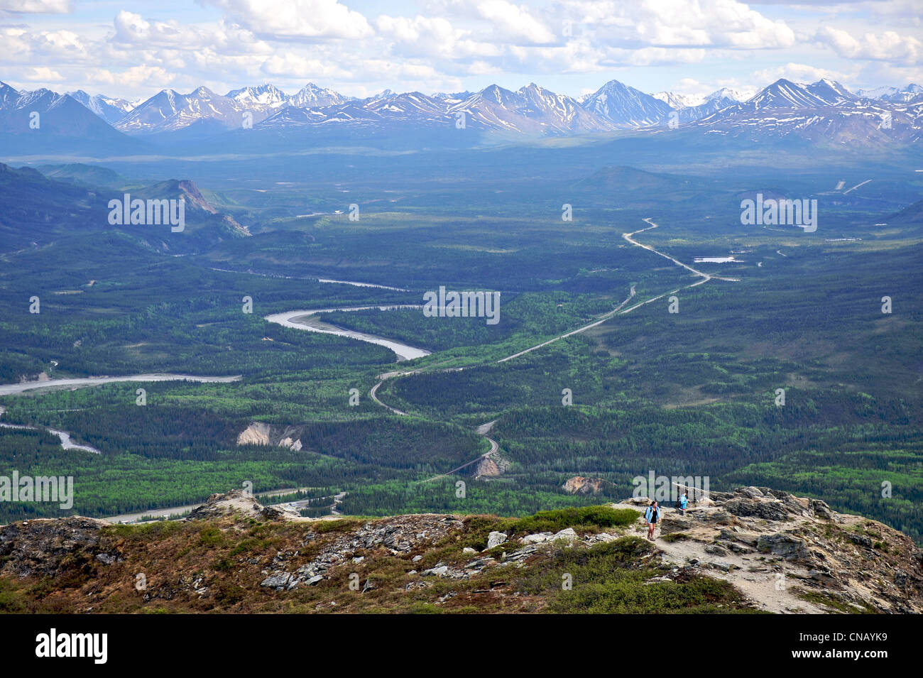 Hikers view the Parks Highway and the Nenana River from the Mt. Healy Overlook Trail in Denali National Park & - Stock Image