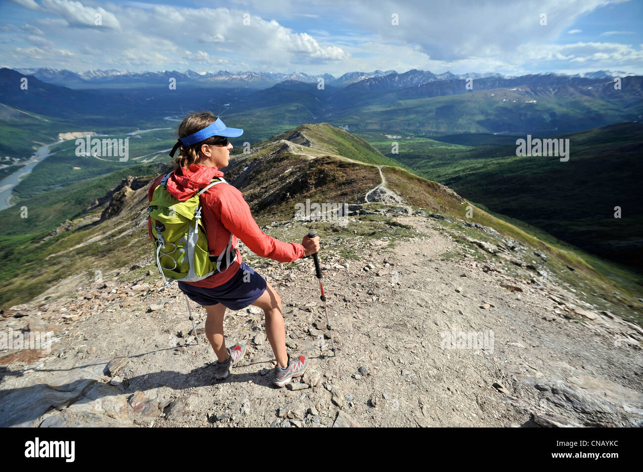 Female hiker at the top of the Mt. Healy Overlook Trail in Denali National Park & Preserve, Interior Alaska, - Stock Image