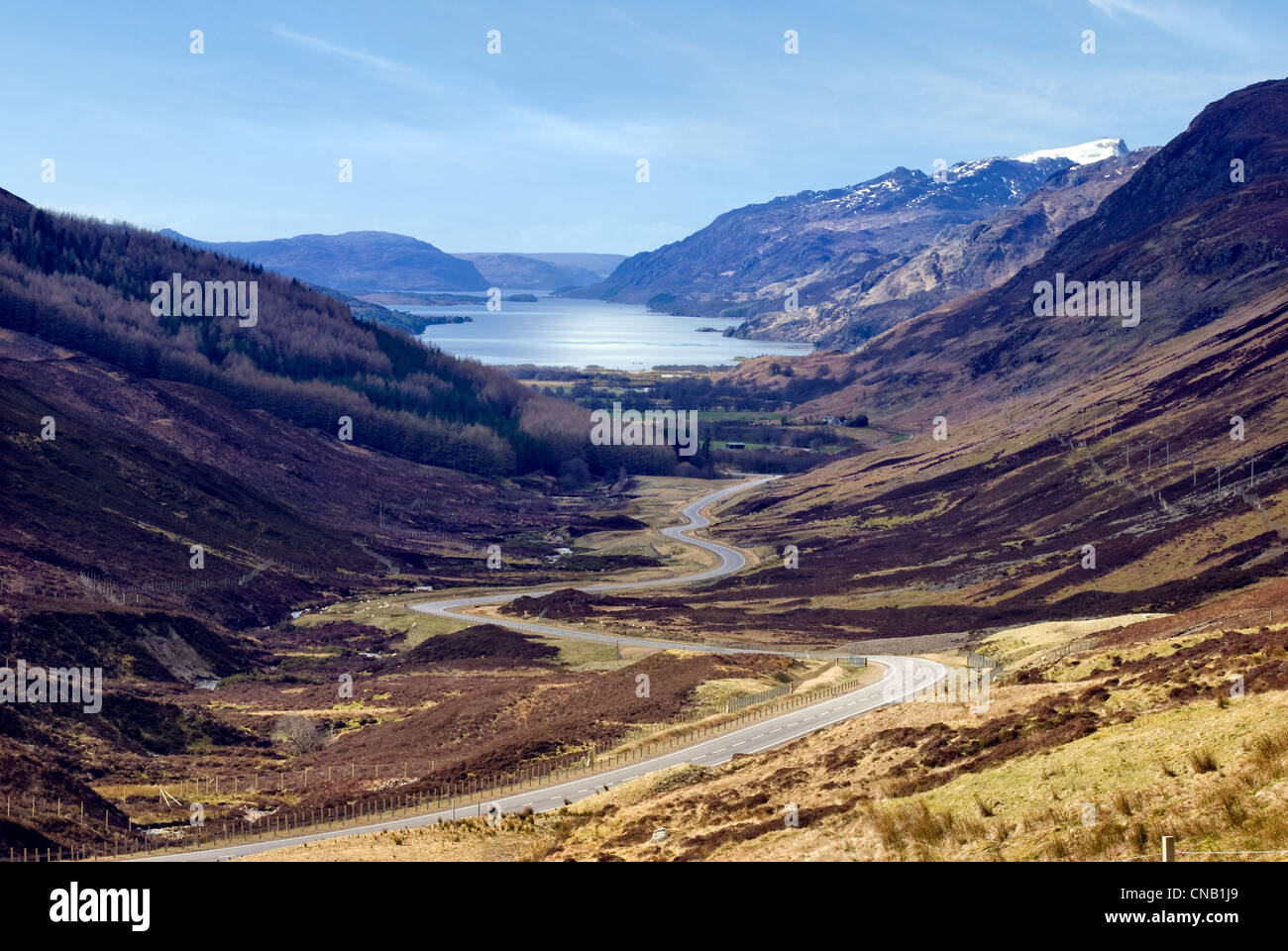 Stunning viewpoint from the A832 in Glen Docherty,Scotland showing the winding road down to Kinlochewe and the tip - Stock Image