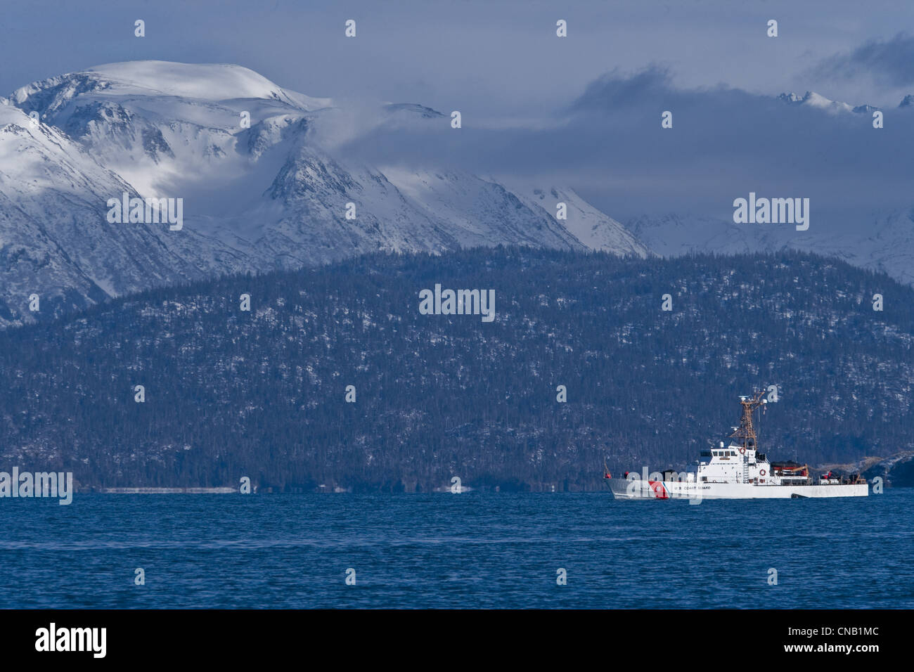U.S. Coast Guard boat in Southeast Alaska, Summer - Stock Image