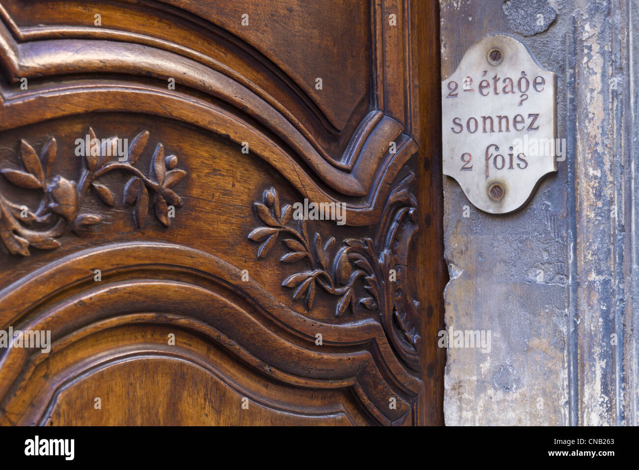 France, Bouches du Rhone, Arles, detail of a door - Stock Image