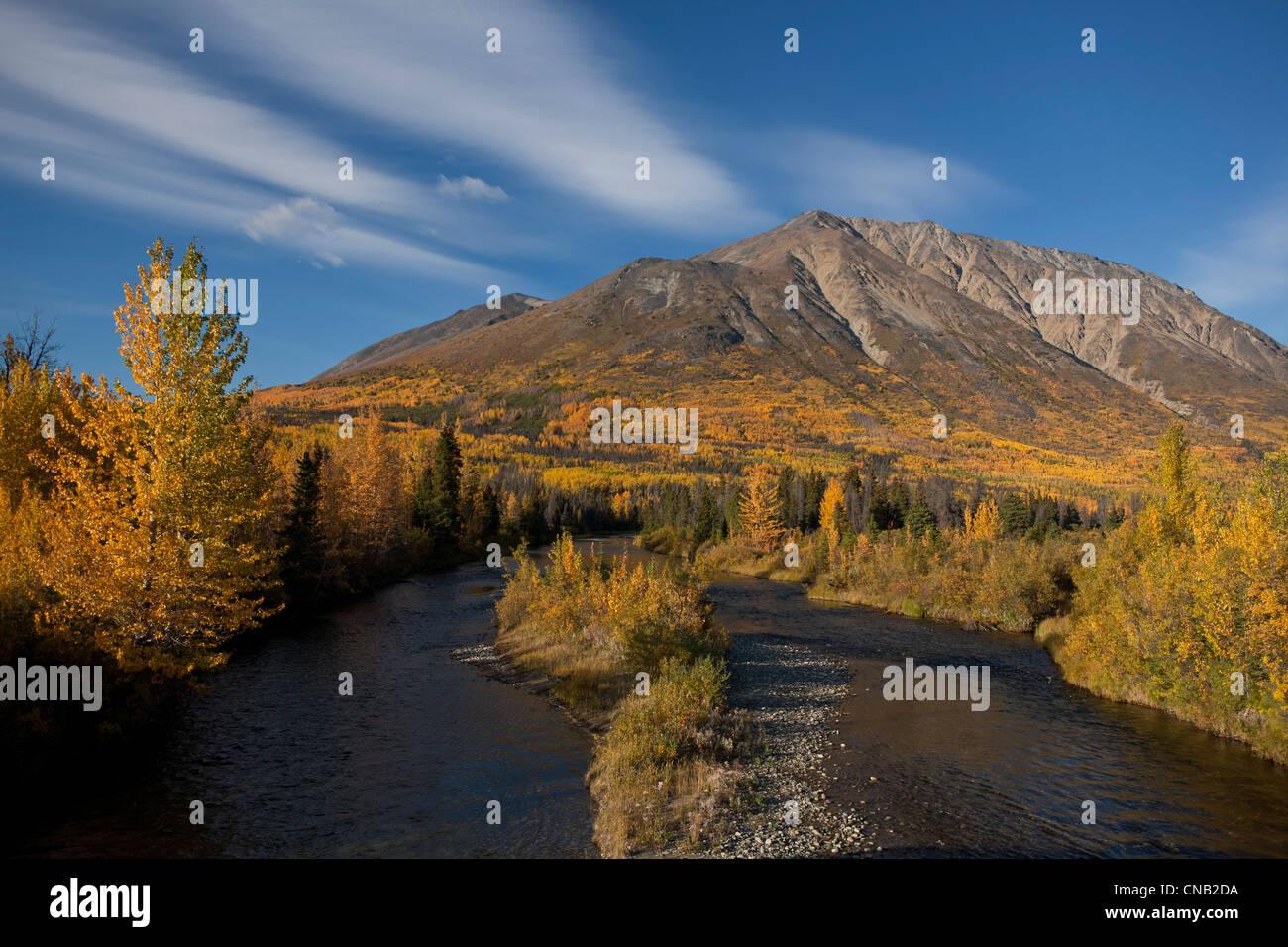Scenic Autumn view along the Alaska Highway near the Million Dollar Falls campground, Takhani River, Yukon Territory, - Stock Image
