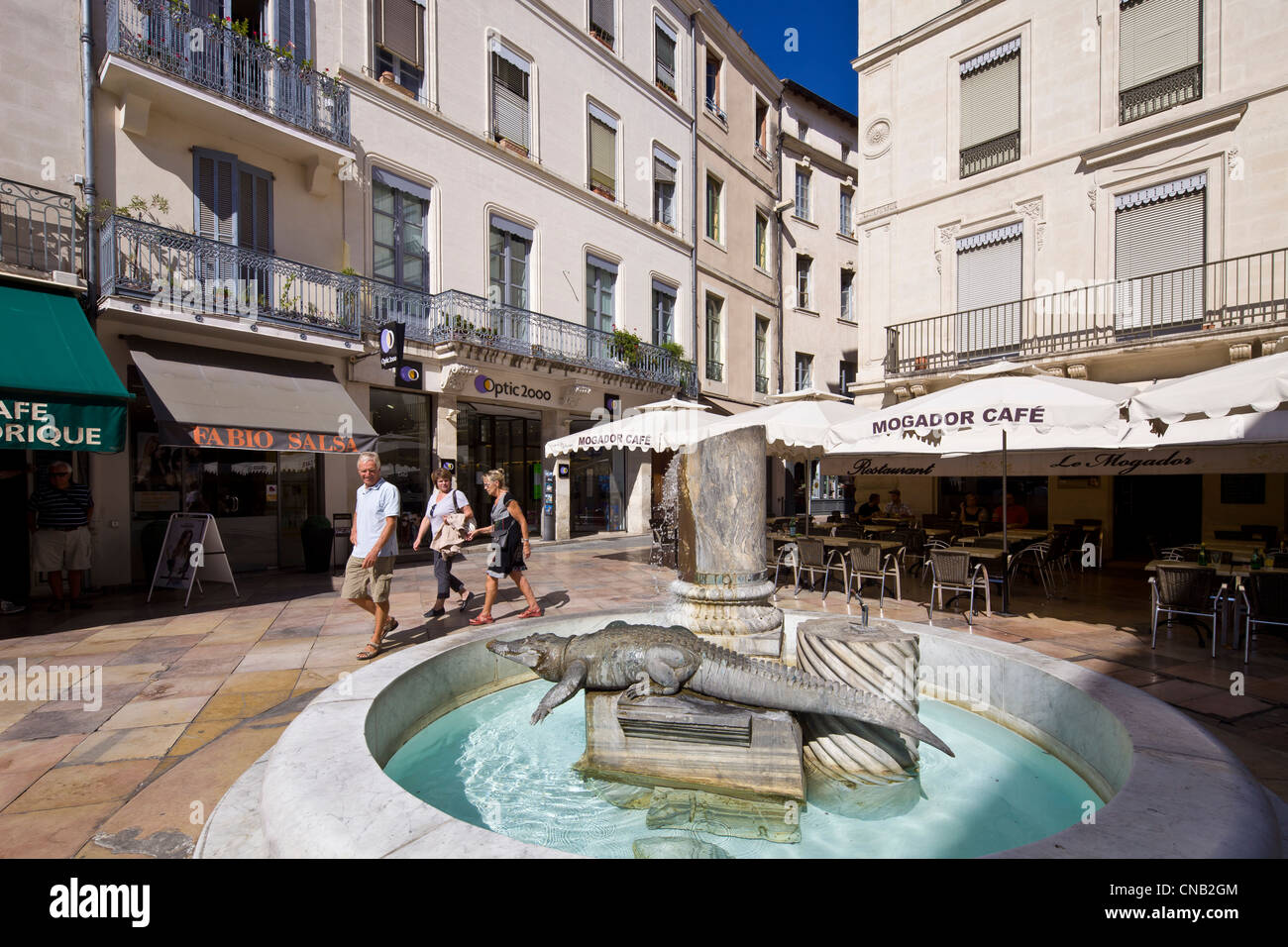 France, Gard, Nimes, the Place du Marche, Fontaine au Crocodile by artists Martial Raysse, Silvio and Vito Tongiani - Stock Image
