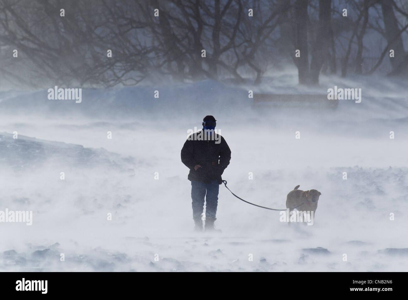 Winds gusting to 70 mph on a winter morning as a man walks his dog along Sandy Beach, Douglas Island, Juneau, Alaska, Stock Photo