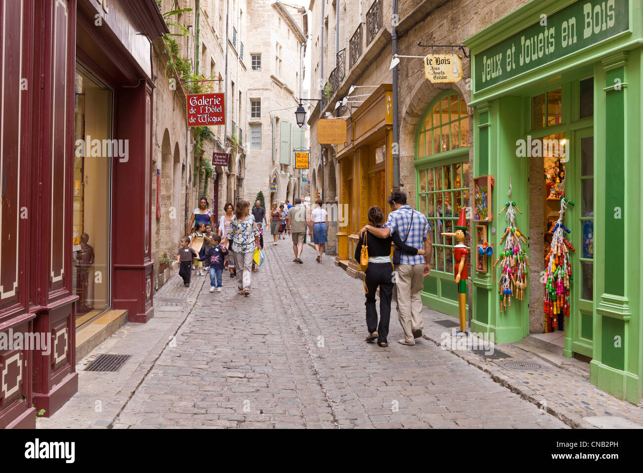 France, Herault, Pezenas, pedestrian alley and his shops - Stock Image