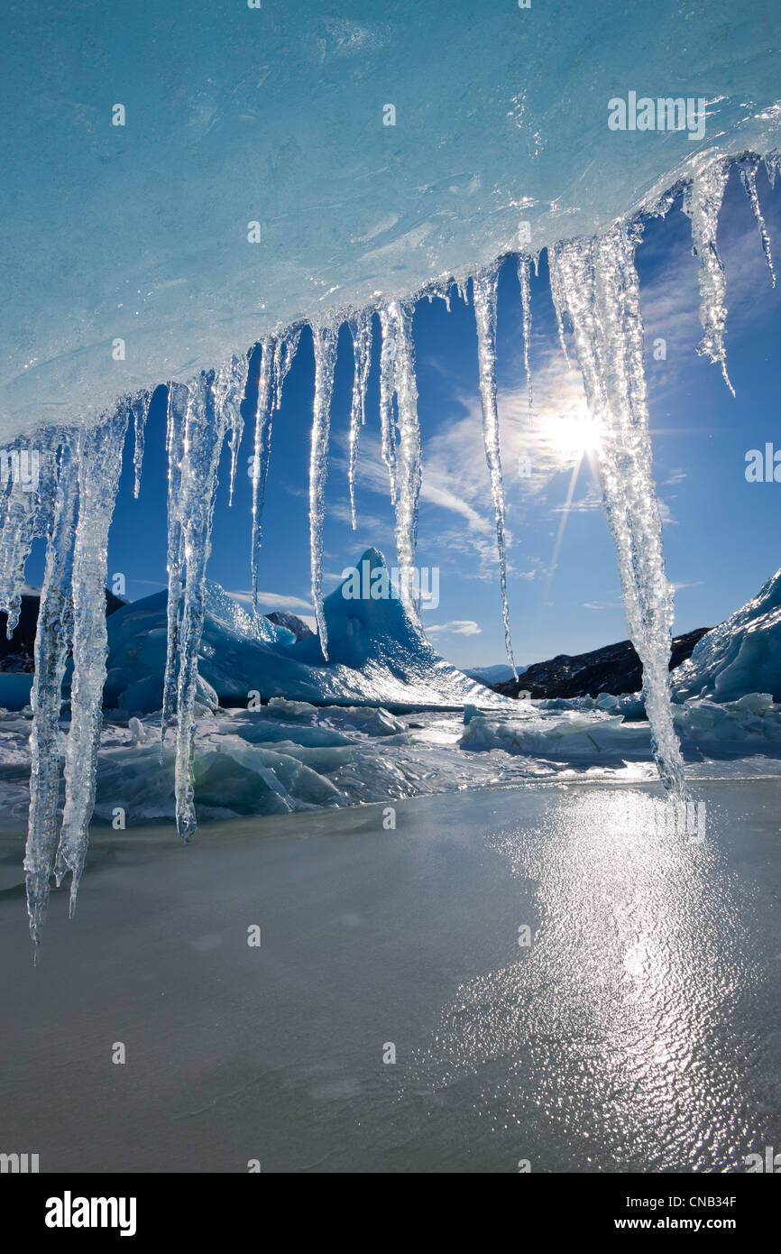 Sun shines through icicles hanging from the edge of an iceberg frozen into the surface of Mendenhall Lake, Alaska Stock Photo