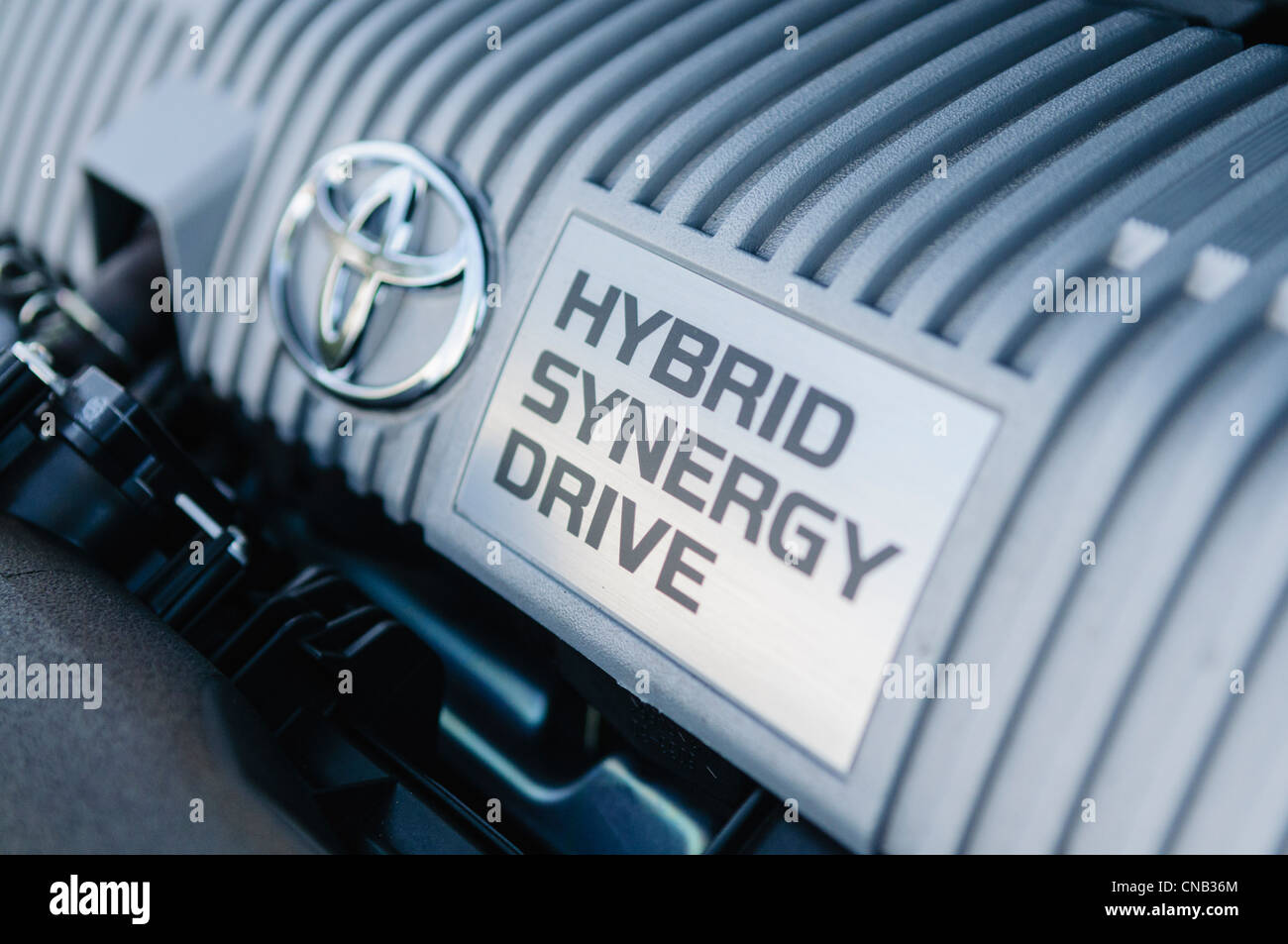 Hybrid petrol engine in a Toyota Prius - Stock Image