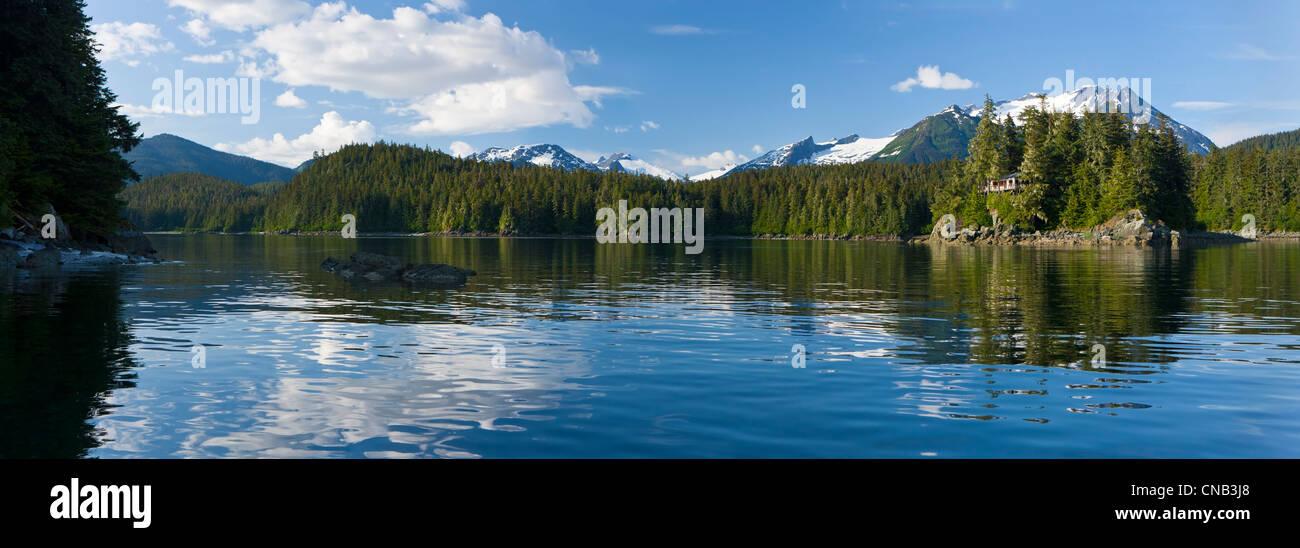 Panorama view of Amalga Harbor near Juneau, Inside Passage, Coast Range, Southeast Alaska, Summer - Stock Image