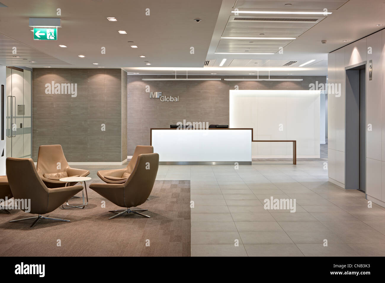 bank reception lift chairs waiting room - Stock Image