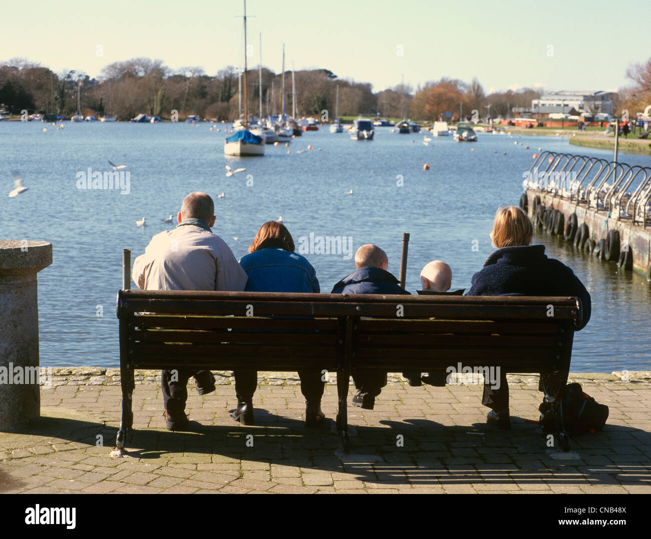 Christchurch Dorset Quayside Family picnicking - Stock Image