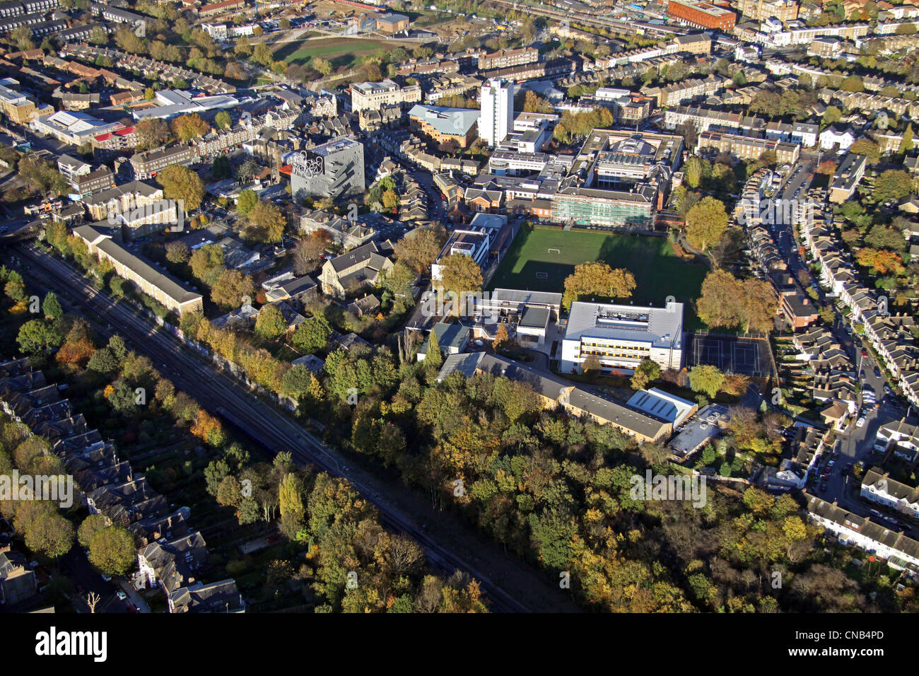 aerial view of Goldsmiths College, London - Stock Image