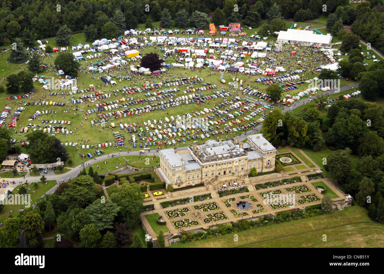 aerial view of Harewood House during the annual VW motor Festival - Stock Image