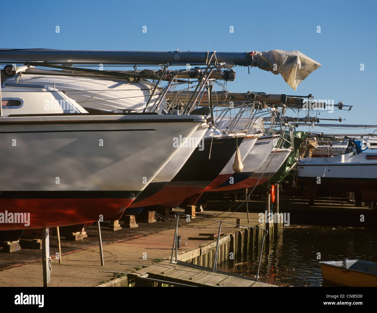 Christchurch Dorset Quayside Detail of Yacht bows - Stock Image