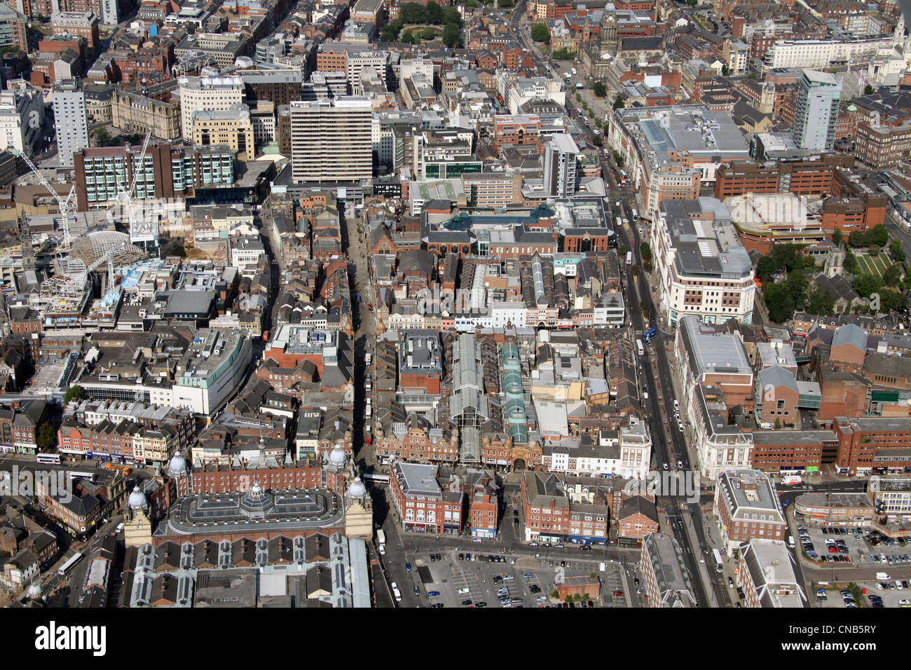 aerial view up The Headrow and Albion Place towards Leeds City Centre - Stock Image