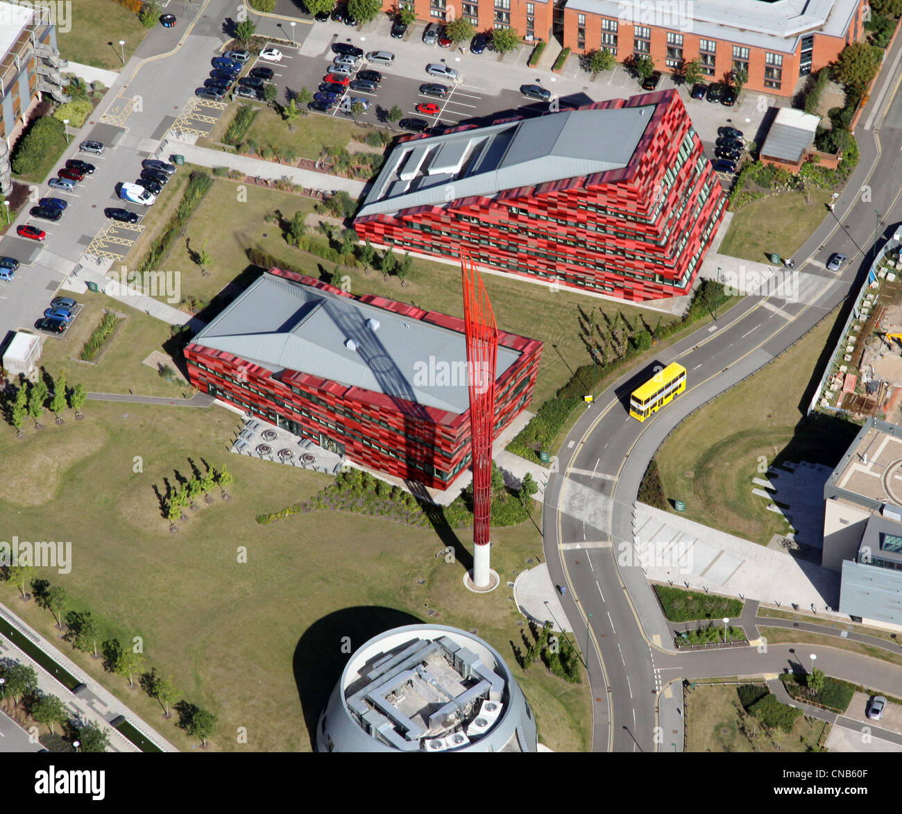aerial view of various buildings on the Jubilee Campus, Nottingham University - Stock Image