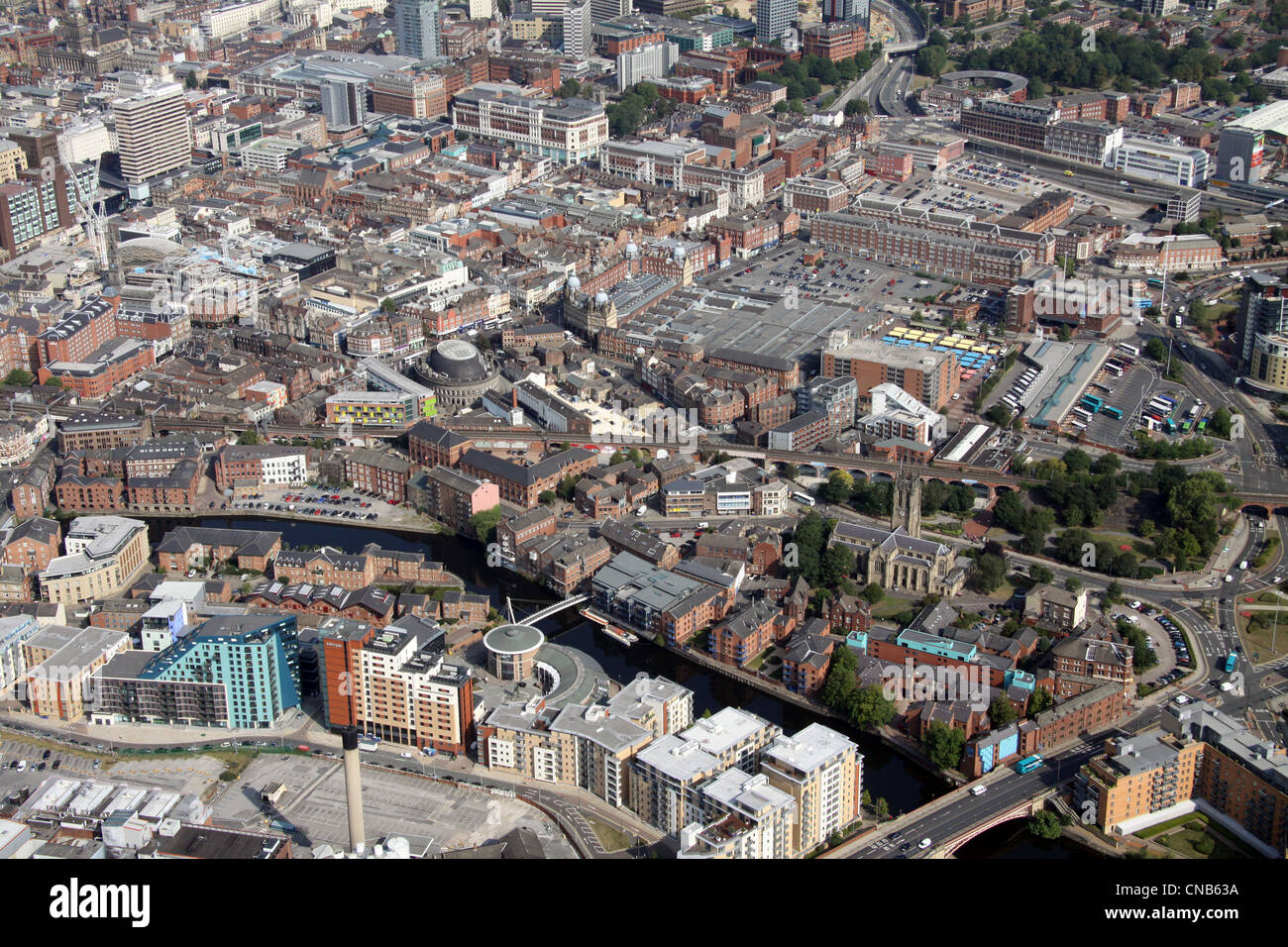 aerial view of the River Aire and Riverside area of Leeds City Centre, including The Calls and Kirkgate Market area - Stock Image