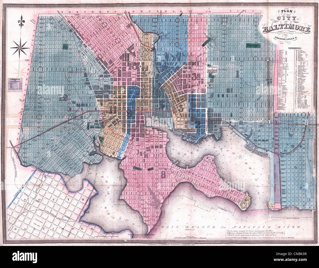Plan of the city of Baltimore compiled from actual survey by Fielding Lucas, Jr., circa 1836 - Stock Image