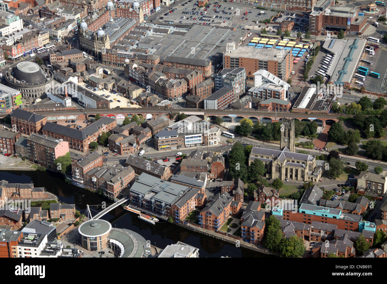 aerial view of  The Calls, River Aire and Leeds Parish Church and Kirkgate Market area - Stock Image