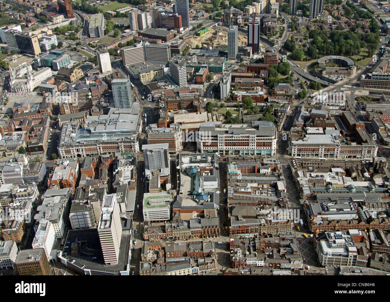 aerial view up Albion Street and Briggate up to the Headrow, Leeds City Centre - Stock Image