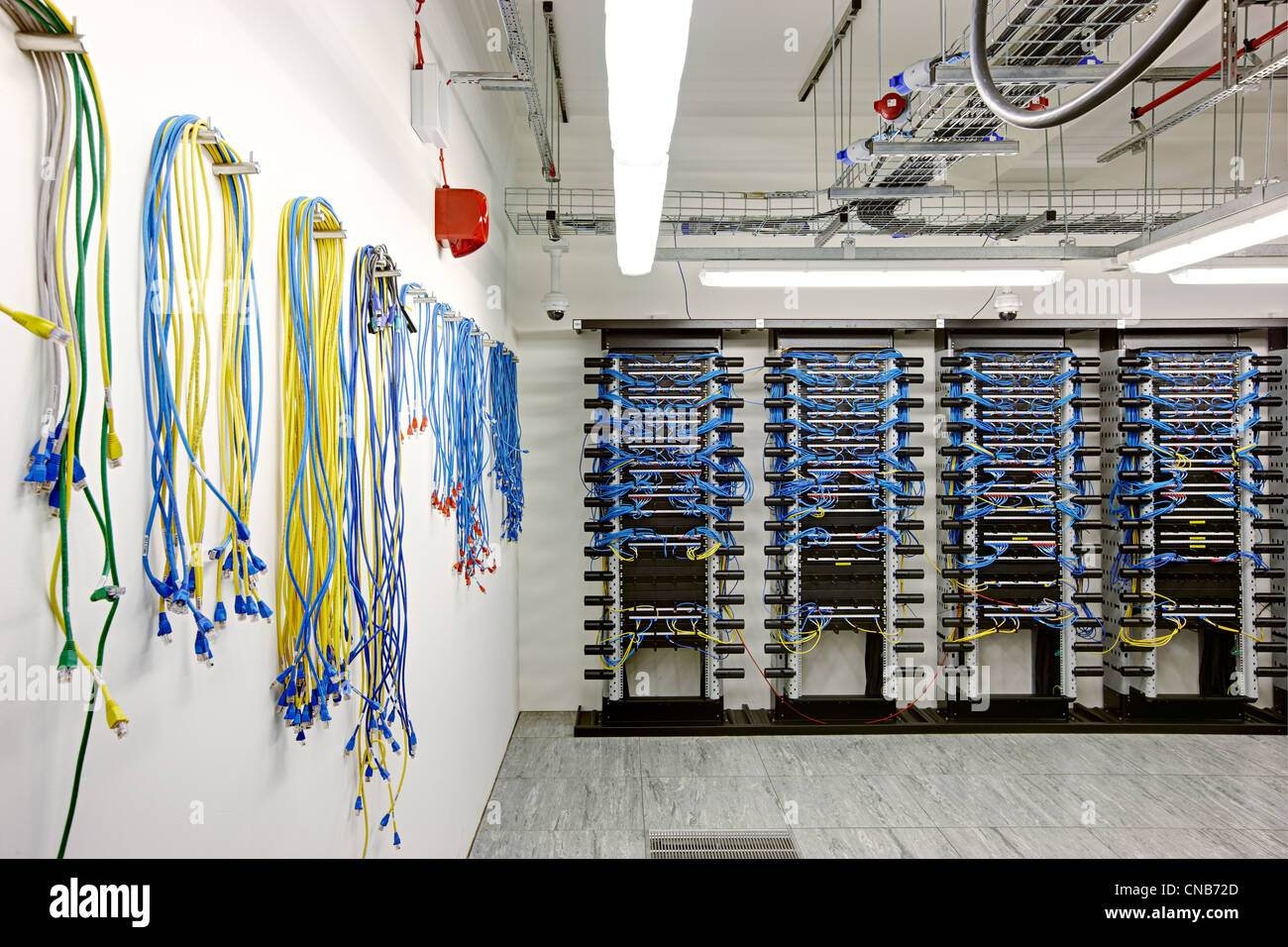 Network Cables Hub Bank Trading Comms Room Stock Photo