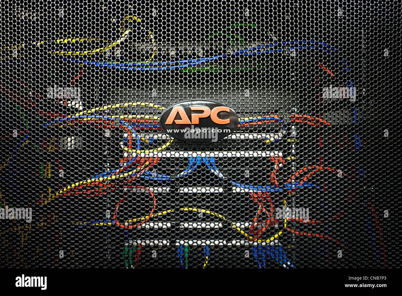 APC logo on server rack - Stock Image