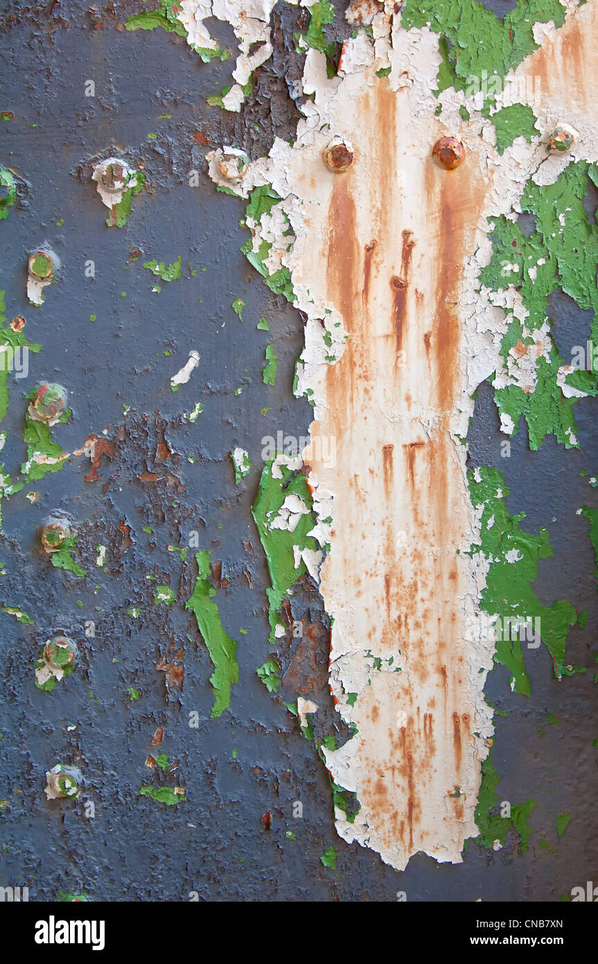 Paint and rust over old oil tanks, Former Grytviken Whaling Station, South Georgia - Stock Image