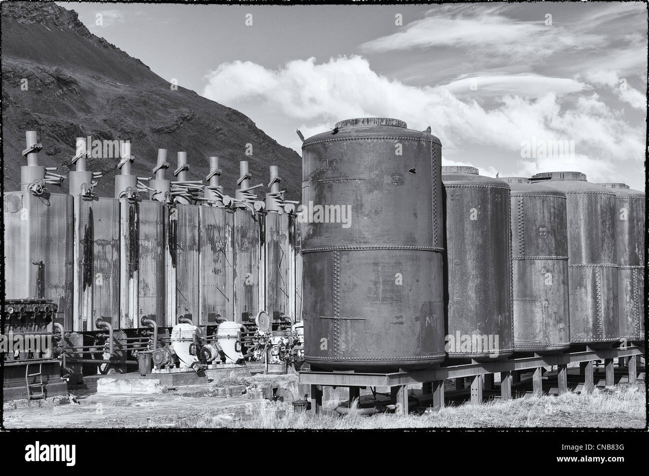 Rusted old metal tanks, Former Grytviken Whaling Station, South Georgia - Stock Image