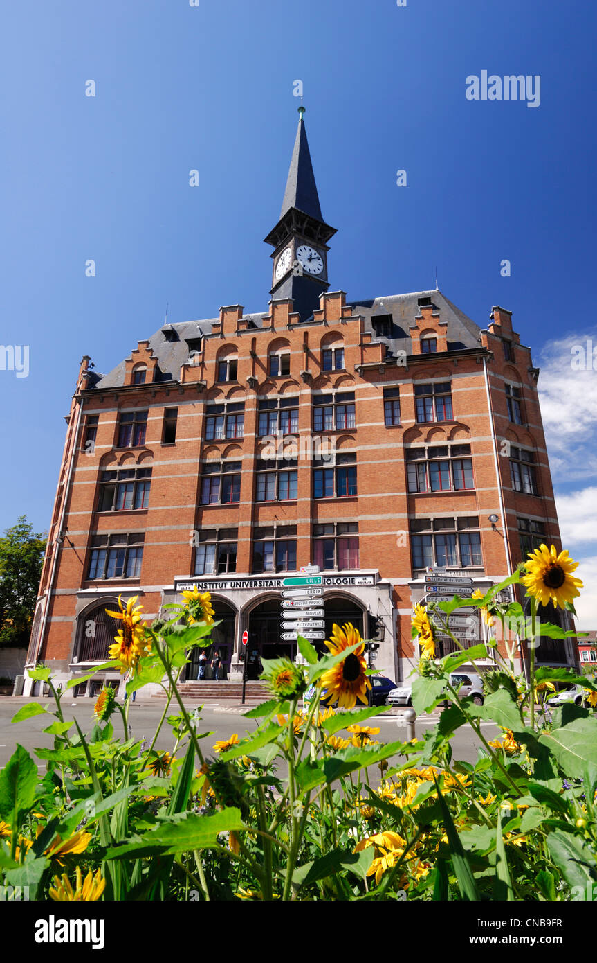 France, Nord, Roubaix, brick building of the University Institute of Technology of Roubaix (USTL) - Stock Image