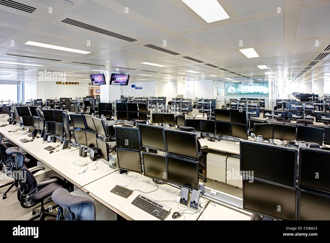 trading floor overview desks computer screen blank - Stock Image