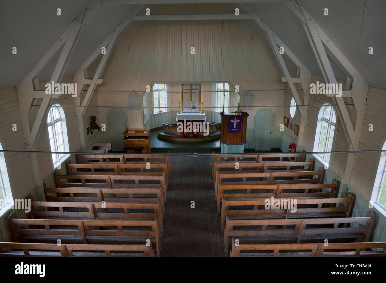 Whaler's Church, Interior, Former Grytviken Whaling Station, South Georgia - Stock Image