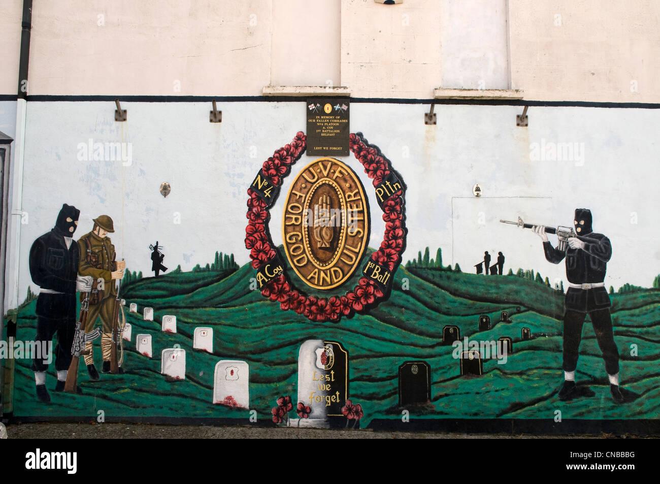 United Kingdom, Northern Ireland, Belfast, Protestant western district of Shankill, Shankill road, murals - Stock Image